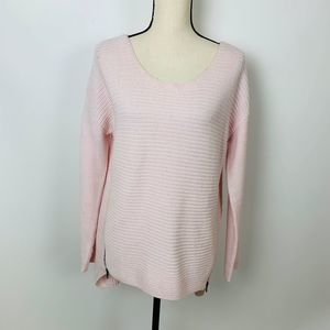 Bar III Pink Knit Sweater Side Zipper Detail Large